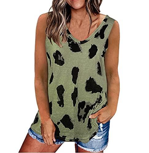 Camisola Mujer Básica Verano con Cuello V Camiseta Mujer Leopardo Sin Mangas Sexy Versión Suelta Blusa Mujer Tendencia Clásica Estilo Callejero Shirt Mujer J-Green XXL