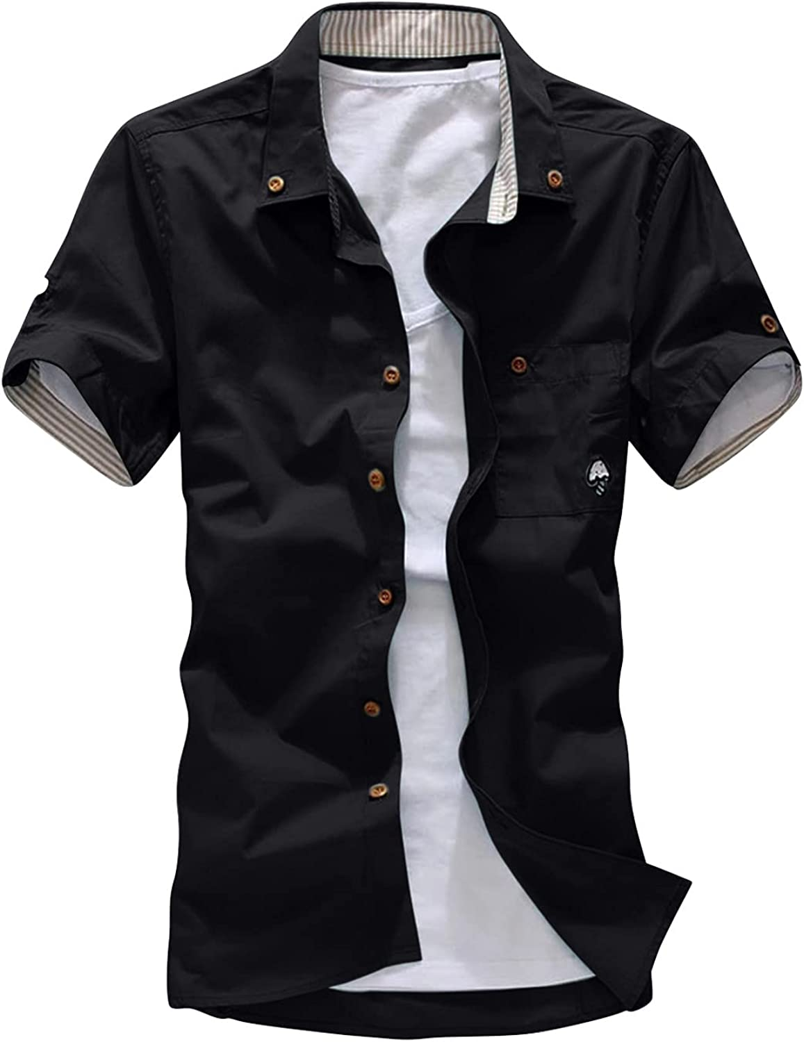 Mens Slim fit Short Sleeve Tops Solid Button Down Collar T-Shirt