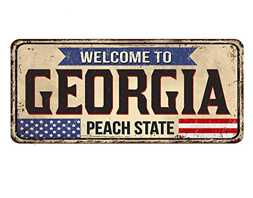 Price comparison product image Promini Rustic Metal Tin Signs Welcome to Georgia Vintage Rusty Wall Decor Wall Art for Home Bar Coffee Room