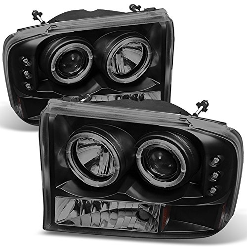 For Ford F-Series SuperDuty 00-04 Excursion Black Smoke Dual Halo Projector Headlights Replacement Pair
