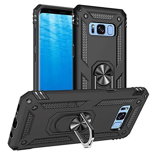 Yiakeng Cover Samsung Galaxy S8, Custodia Slim Silicone Armour Bumper Antiurto Telefono Case con Kickstand per Samsung Galaxy S8 (Nero)