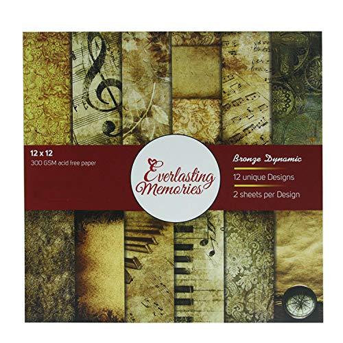 Aumni Crafts 300 g/m² dickes, 30,5 x 30,5 cm großes Karton-Design-Papier (Bronze-dynamisches Thema, 12 Designs x 2 Blatt) für Bastelarbeiten, Grußkarten, Projekte, Buchherstellung