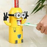 Dos ojos: Dispensador de pasta de dientes Minion, dispensador automático de pasta de dientes, accesorios para el baño, soporte para cepillo de dientes de plástico, productos para el baño.