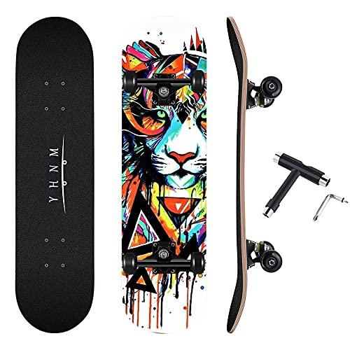 REWE Skateboard Cruiser para Principiantes,Tablero de Arce de 7 Pisos, Soporte para camión CX4,Monopatín de Madera de Arce Niñas Niños Adolescentes Adultos patineta Tabla de Surf de Skate