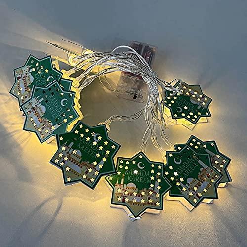 Cadena de Luces Ramadan LED Guirnaldas Luces de Interior 3M con 20 Colgante de Hierro Cadena de luces Eid Mubarak para Dormitorio Hogar Fiesta Decoración
