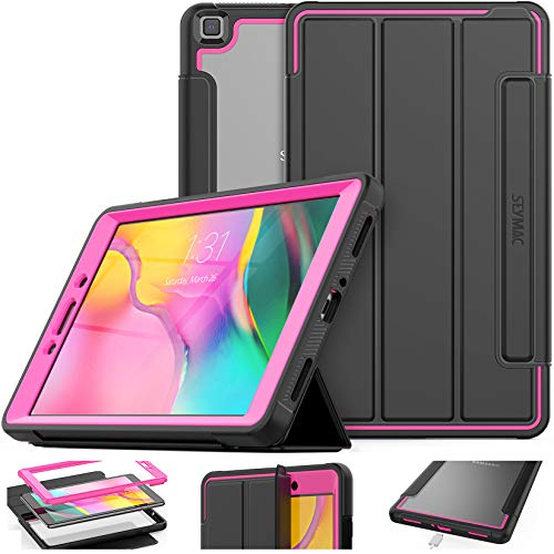 Samsung Galaxy Tab A 8.0 Case, Shockproof Protective Case Smart Cover Auto Sleep Wake with [Screen Protector] Stand and Clear Feature for Galaxy Tab A 8.0 SM-T290/T295/T297 2019 (Black/Rose)