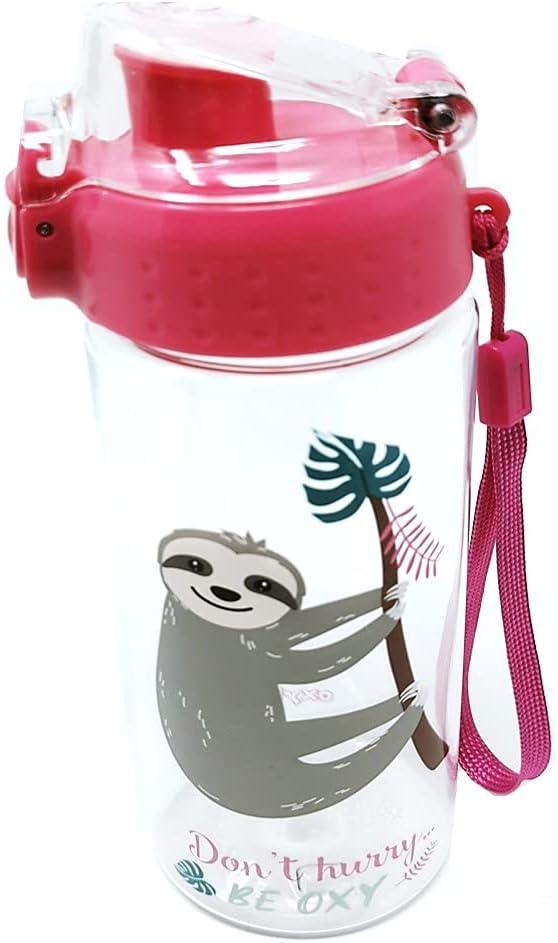 Botella de agua a prueba de fugas para niños, botella de agua irrompible, ligera, de Tritan y ácido carbónico, libre de BPA, 500 ml, para escuela, guardería, deportes (perezador)