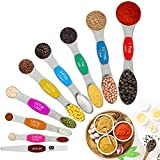 AQwzh Magnetic Measuring Spoons Set of 9 Dual Sided Stackable 18/8 Stainless Steel Magnetic Snaps Teaspoons fits in Spice Jars or Liquid Rainbow colors