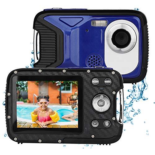 BYbrutek Cámara Digital para Niños, 21MP 1080P Full HD, 5 Metros Impermeable, Cámara Subacuática para Niños, LCD de 2,8 Pulgadas, Zoom Digital 8X, con Batería Recargable de 1050MaH (Azul)