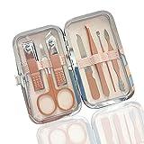 Manicure Set | Cortauñas | Tijeras | Pinzas | Tamaño de viaje | Herramientas profesionales de pedicura de acero inoxidable | Kit de aseo de uñas de oro rosa con estuche
