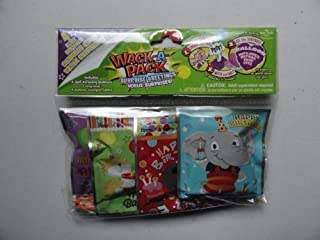 Happy Birthday! Wack-a-pack Balloon Surprise! 2 Pack of 4 Self-inflating Foil Balloons- Various Designs