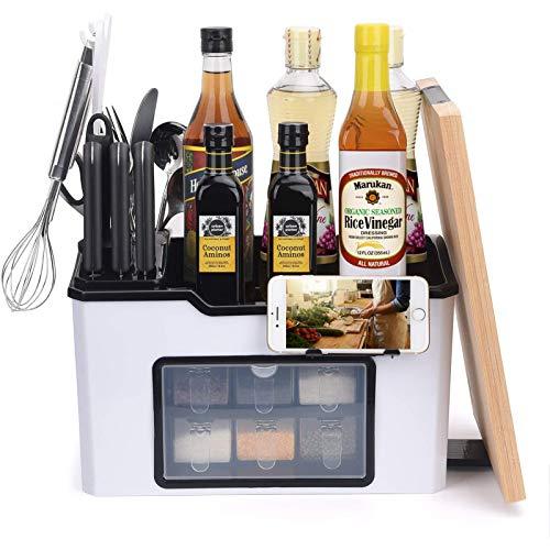 Organizador de estantes de Cocina con 6 tarros de Especias para condimentos, Equipo de Corte de Cubiertos, colección de Soportes para Tablas de Cortar, Organizador (15 * 9.2 * 7.5in)