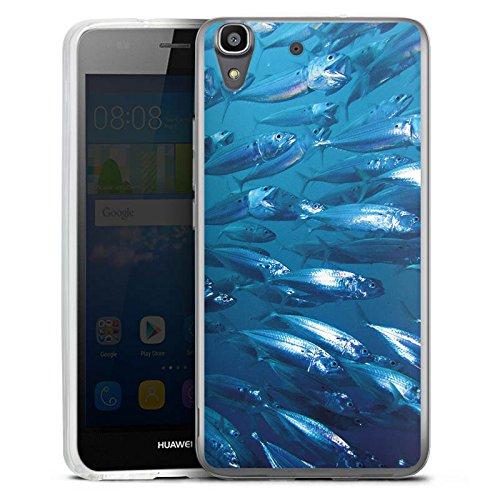 Silikon Hülle kompatibel mit Huawei Y6 2016 Hülle transparent Handyhülle Blau Delfine Fisch