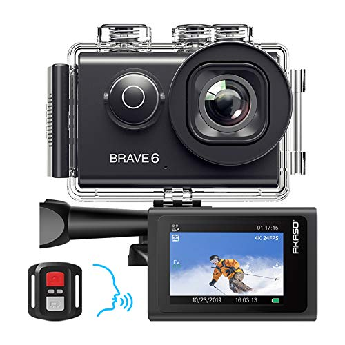 AKASO Brave 6 Action Cam 4K 20MP WiFi Sprachsteuerung EIS Anti-Shake 30 Meters wasserdicht Unterwasserkamera Fernbedienung 6X Zoom Sports Helmkamera mit 2 Batterien und Helmzubehör-Kit