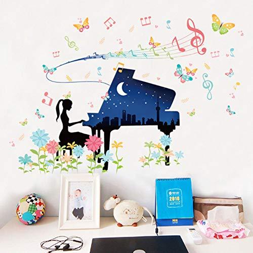 Prinsessin Kamer Cartoon combinatie decoratie muursticker bloem boom hert spelen piano muziek meisje balleet danseres vlinder sticker