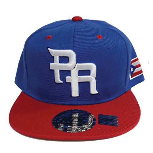 PR 3D Embroidered Snapback Cap Blue with Puerto Rico Flag