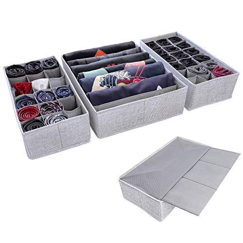 SIMPLE JOY Schubladen Organizer für I K E A Malm, wähle deinen Schrank; Stabiler Boden; Stoffboxen für Socken, T-Shirts, Krawatten, Unterwäsche; Ordnungssystem grau, Aufbewahrungsbox 3er Set (Malm)