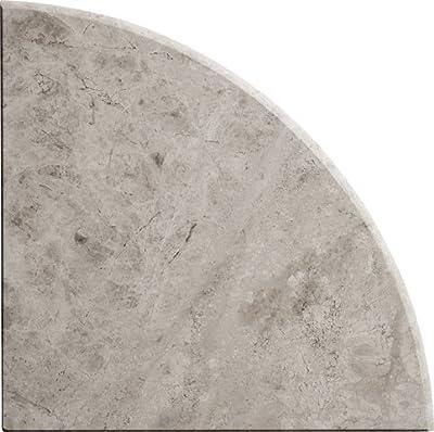 9'' X 9'' X 3/4'' Round Edge Marble Galaxy Gray Corner Shelf Piece Both Sides Polished