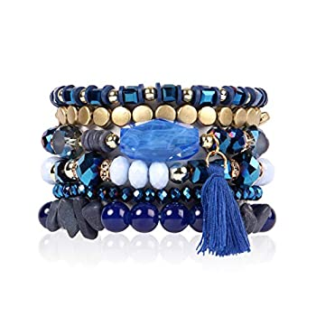 RIAH FASHION Coin Bead Multi Layer Versatile Statement Bracelets - Stackable Beaded Strand Stretch Bangles Sparkly Crystal Tassel Charm  Navy