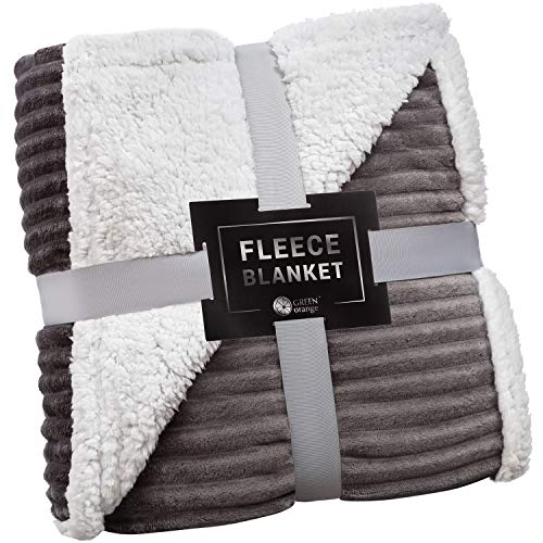 Sherpa Blanket Fleece Throw – 60x80, Dark Gray – Soft, Plush, Fluffy, Warm, Cozy – Perfect for Bed, Sofa, Couch, Chair