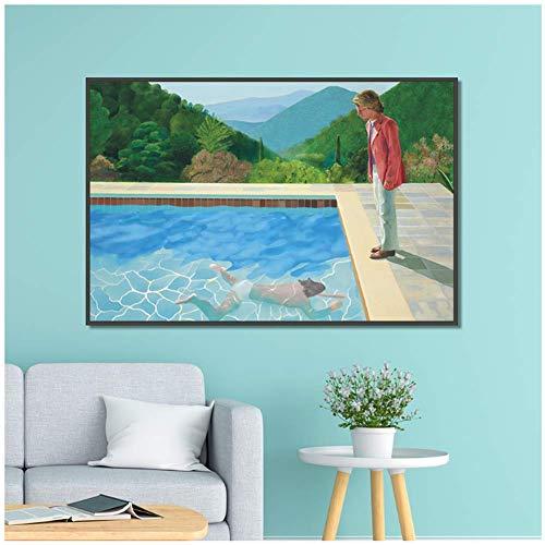 NRRTBWDHL David Hockney Pool mit Zwei Figuren Leinwand Home Decor Wandplakate und Drucke Kunst Bild Wohnzimmer Drucke-24X32 Zoll ohne Rahmen