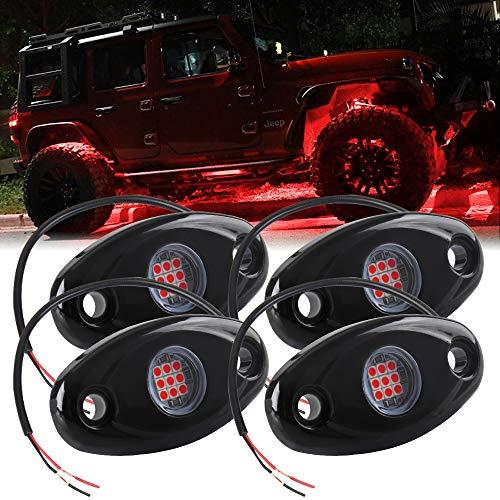 4X Luces de Roca LED Impermeable Rojo Luz de Pendiente de neón LED para camión SUV ATV Jeep Off-Road Luz del chasis del Coche Ambiente Luz Decorativa