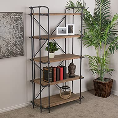 Great Deal Furniture Cobek 5-Shelf Industrial Design Solid Wood Bookcase
