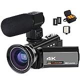 ACTITOP Videocámara 4K, 48 MP Full HD 1080p WiFi IR visión Nocturna 16X Zoom Digital videocámara con micrófono Externo, Lente Gran Angular, luz de vídeo LED y Bolsa de cámara