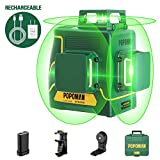 Laser Level 3D & 3 x 360°, Line Laser Green POPOMAN, USB Rechargeable, Self Leveling and Pulse Mode, Magnetic Pivoting Base, Auxiliary Supporting Bracket, Carrying Case Include - MTM350B