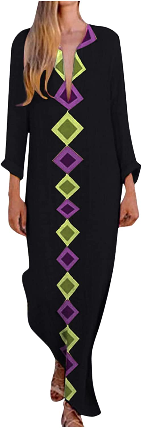 Eoailr Women Long Sleeve Casual Maxi Loose Irreg Dress Free shipping anywhere Max 67% OFF in the nation Plus Size