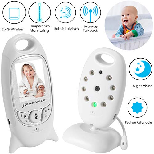 XCSOURCE Baby Monitor 2.4 GHz Wireless Digital Video Baby Monitor with Camera, 2 Way Talk Back Audio, Night Vision, Temperature Sensor, Built-in Lullabies, Large LCD Screen Monitors