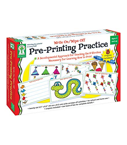 Key Education Write-On/Wipe-Off Pre-Printing Practice—PreK-Grade 1 Handwriting Activity Kit With Tracing, Dry Erase Activity Boards and Crayons (34 pc)