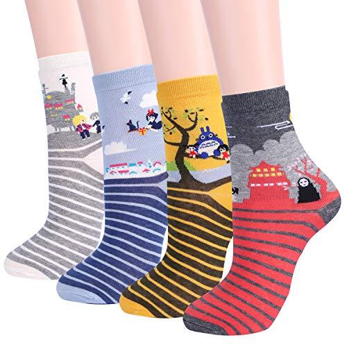 Jeasona Anime Gifts Women Funny Cat Socks Cute Animals Fun Funky Novelty Gift