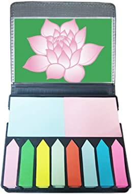 Flower Plant Lotus Flower Pink Pattern Self Stick Note Color Page Marker Box