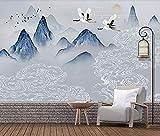 Tapete 3D Landschaft In L Blauer Tinte Aus China Crane Günstige Moderne Vlies Wanddekoration fototapete 3d Tapete effekt Vlies wandbild Schlafzimmer-300cm×210cm