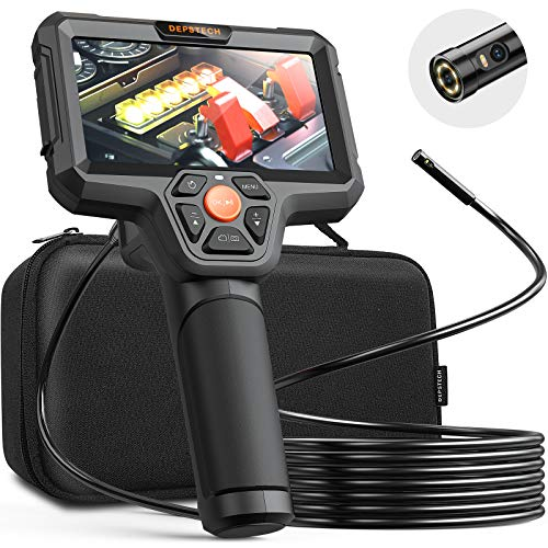"DEPSTECH Dual Lens Inspection Camera, Endoscope with 5"" IPS LCD Screen, 7.9 mm HD Borescope, Sewer Camera with LED Flashlight, 32 GB, 5000 mAh Battery, Carrying Case, Detachable Snake Camera-16.5ft"