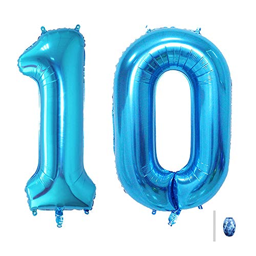 Huture 40 Inches Blue Jumbo Digital Number Balloon Huge Giant Balloon Foil Mylar Balloons for Birthday Party Wedding Bridal Shower Engagement Photo Shoot Anniversary, Number 10 Blue Balloon
