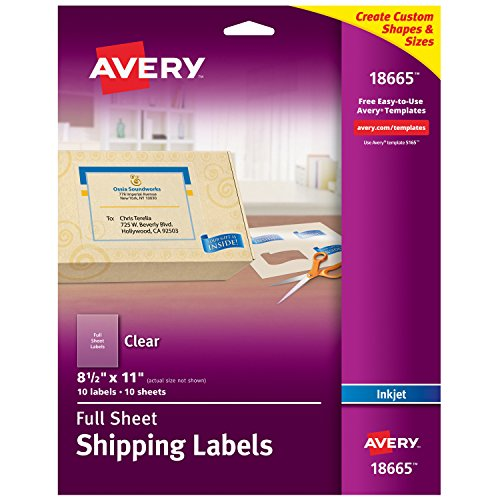 Avery Matte Frosted Clear Full Sheet Labels for Inkjet Printers, 8.5' x 11', 10 Labels (18665)