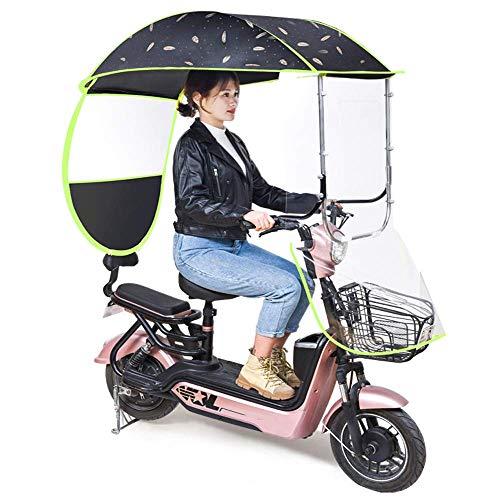 SEESEE.U Mobility Scooter Sun Rain Wind Cover Coche eléctrico Prevenir Paraguas, para Coches eléctricos con Espejo retrovisor, Cubierta de sombrilla de Motocicleta eléctrica Universal