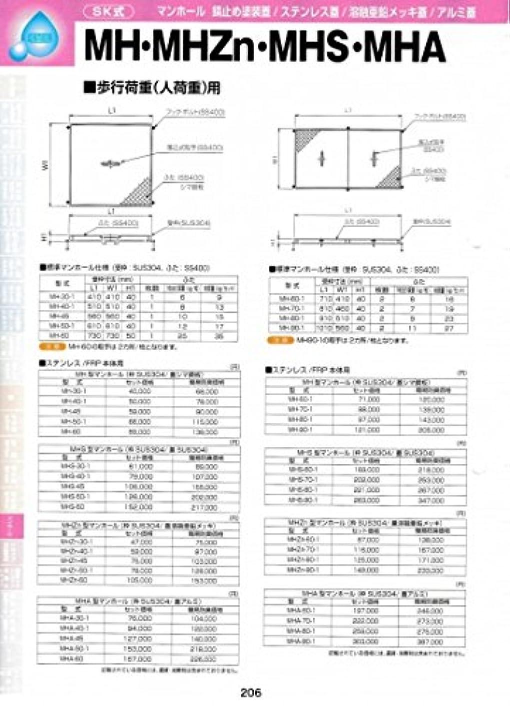 民主主義モス調整可能MH型マンホール(枠SUS304 / 蓋シマ鋼板) MH-2000