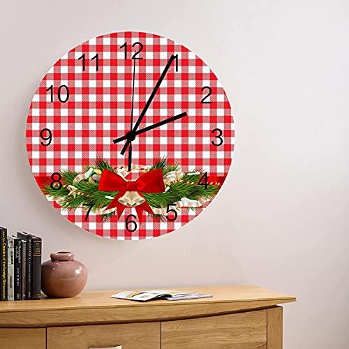 Reloj de pared de madera redondo silencioso sin tictac de 10 pulgadas con lazo navideño y rama de pino sobre fondo de cuadros rojos Reloj de manos con números romanos decoración del hogar para cocina,