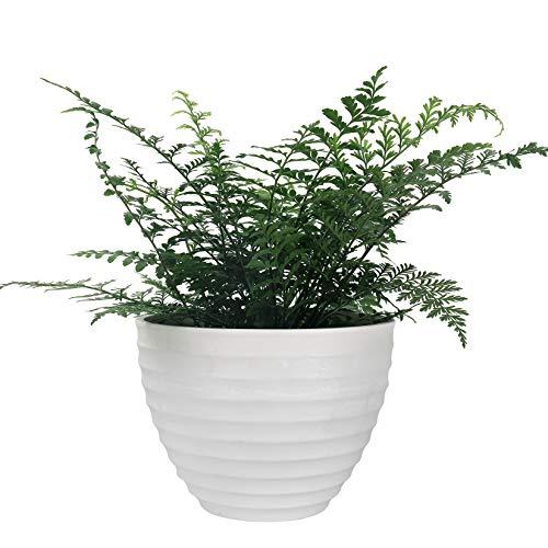 LA JOLIE MUSE Vaso scanalato per fiori per interno ed esterno 26 cm, fioriera in stile urban chic con rilievi orizzontali, colore bianco pietra