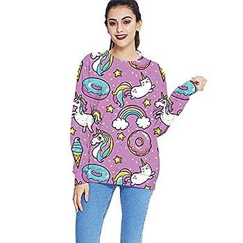 KYKU Unicorn Sweatshirts for Women Rainbow Donut Long Sleeve Casual Pullover Shirt  Large Unicorn