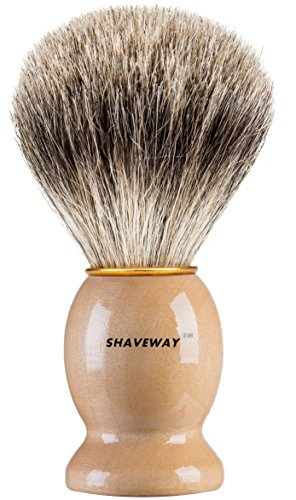 Shaveway 100% Original Pure Badger Shaving Brush and Stand. Engineered for The Best Shave of Your Life.for All Methods,Safety Razor,Double Edge Razor,Staight Razor or Shaving Razor.