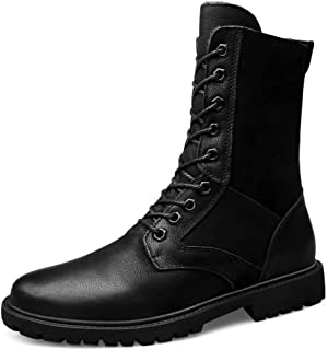 JIANFEI LIANG Men's Mid-calf Boots Casual New Style Outdoor Waterproof Windproof Army Boots Work or Casual Wear (Warm Velvet Optional) (Color : Zipper Black, Size : 50 EU)