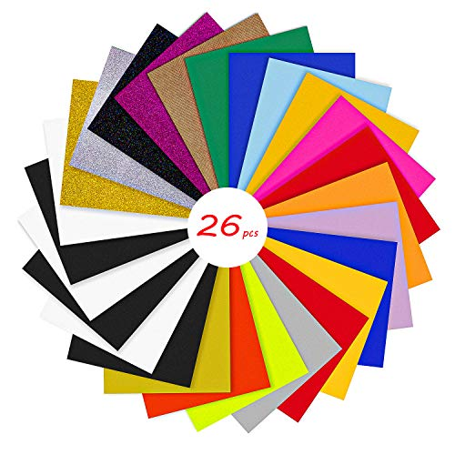 YRYM HT HTV Heat Transfer Vinyl Bundle : 26 Pack 12' x 10' Sheets Iron on Vinyl,20 Assorted Colors Heat Press Vinyl for DIY Iron on Fabrics T-Shirts Heat Press Machine or Silhouette Cameo