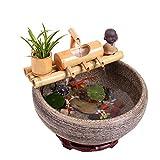 Dongbin Outdoor Wasserspiel Bambus Brunnen Landschaftsdekoration, Außensolarbetriebene Wasserpumpen-Kit,50CM