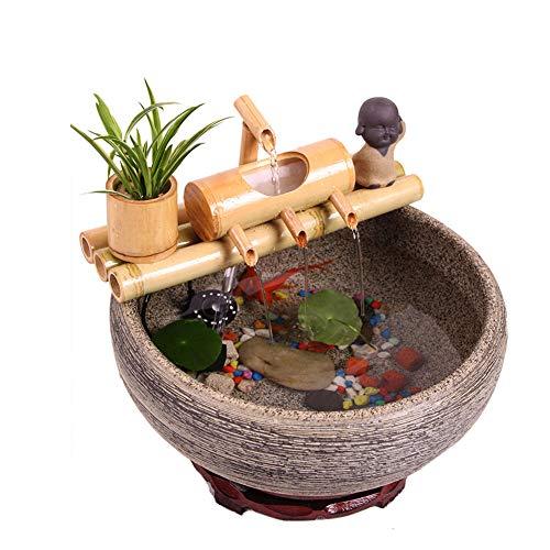 Dongbin Outdoor Wasserspiel Bambus Brunnen Landschaftsdekoration, Außensolarbetriebene Wasserpumpen-Kit,30CM