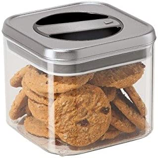 Twist & Store Square Airtight Acrylic Canisters with Stainless Steel Lids & Silicone Gaskets (34 Oz./5.5
