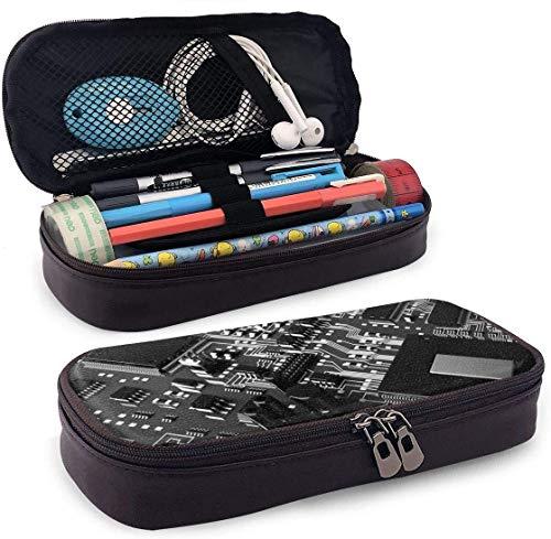 Coole Schaltung kreative Muster Leder Federmäppchen Stifthalter mit Reißverschluss für Mädchen und Jungen-Bleistift Beutel Schreibwaren Aufbewahrungstasche